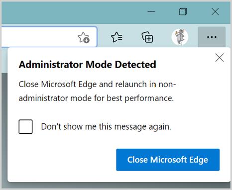Administrative Mode Warning