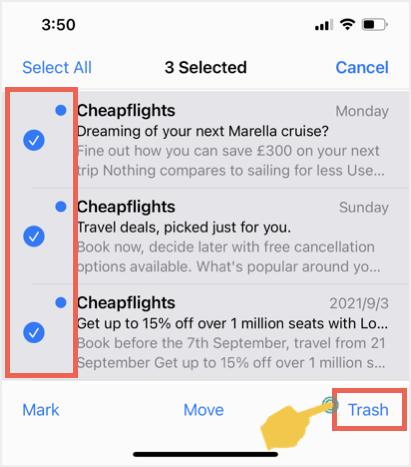 Массовая корзина писем Gmail в почтовом приложении