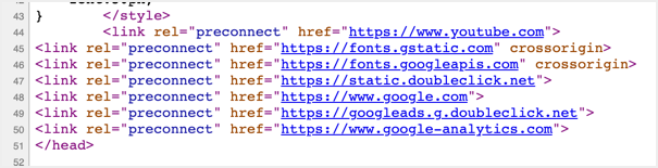 Check Preconnect in Page Source