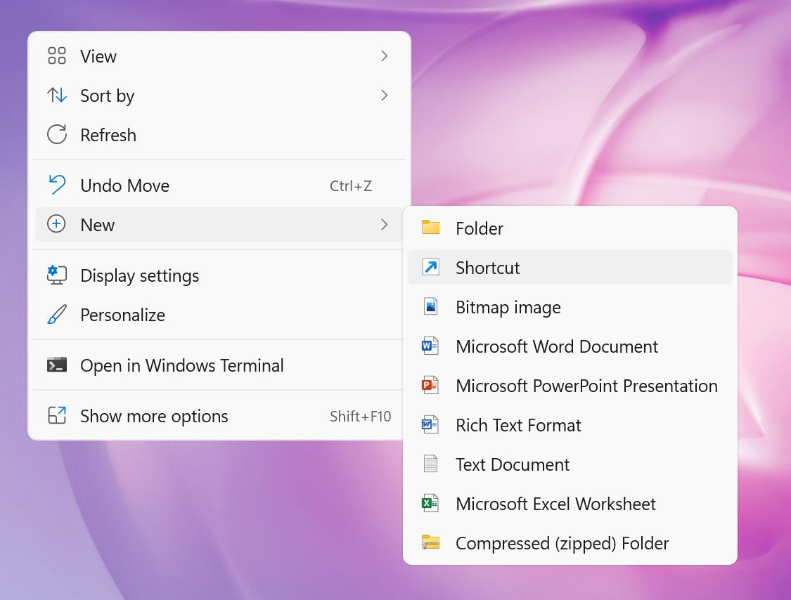 Create New Shortcut in Desktop