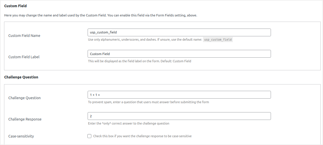 Custom Fields and Challenge Questions