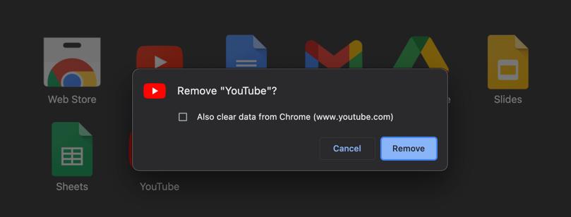Delete YouTube App from Chrome Mac