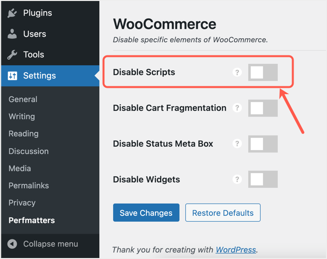 Disable WooCommerce in Perfmatters