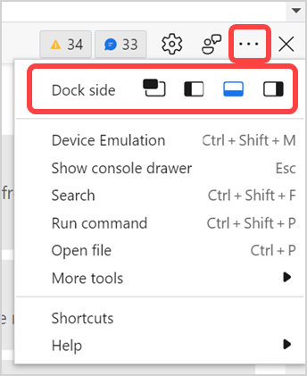Dock Developer Tools Position