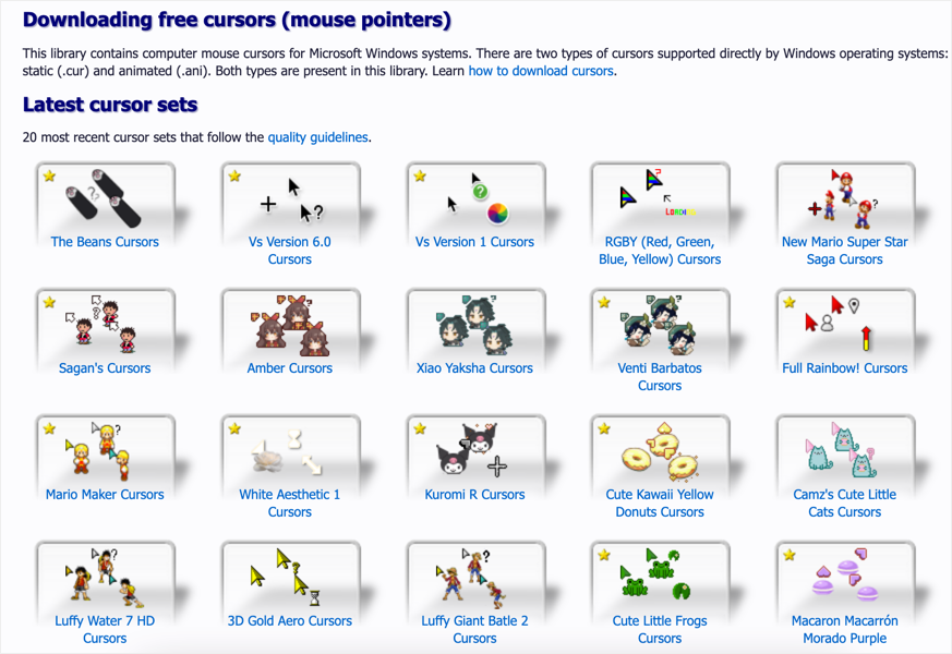 Download Free Cursors for Windows