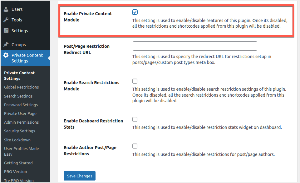 Enable Private Content Module