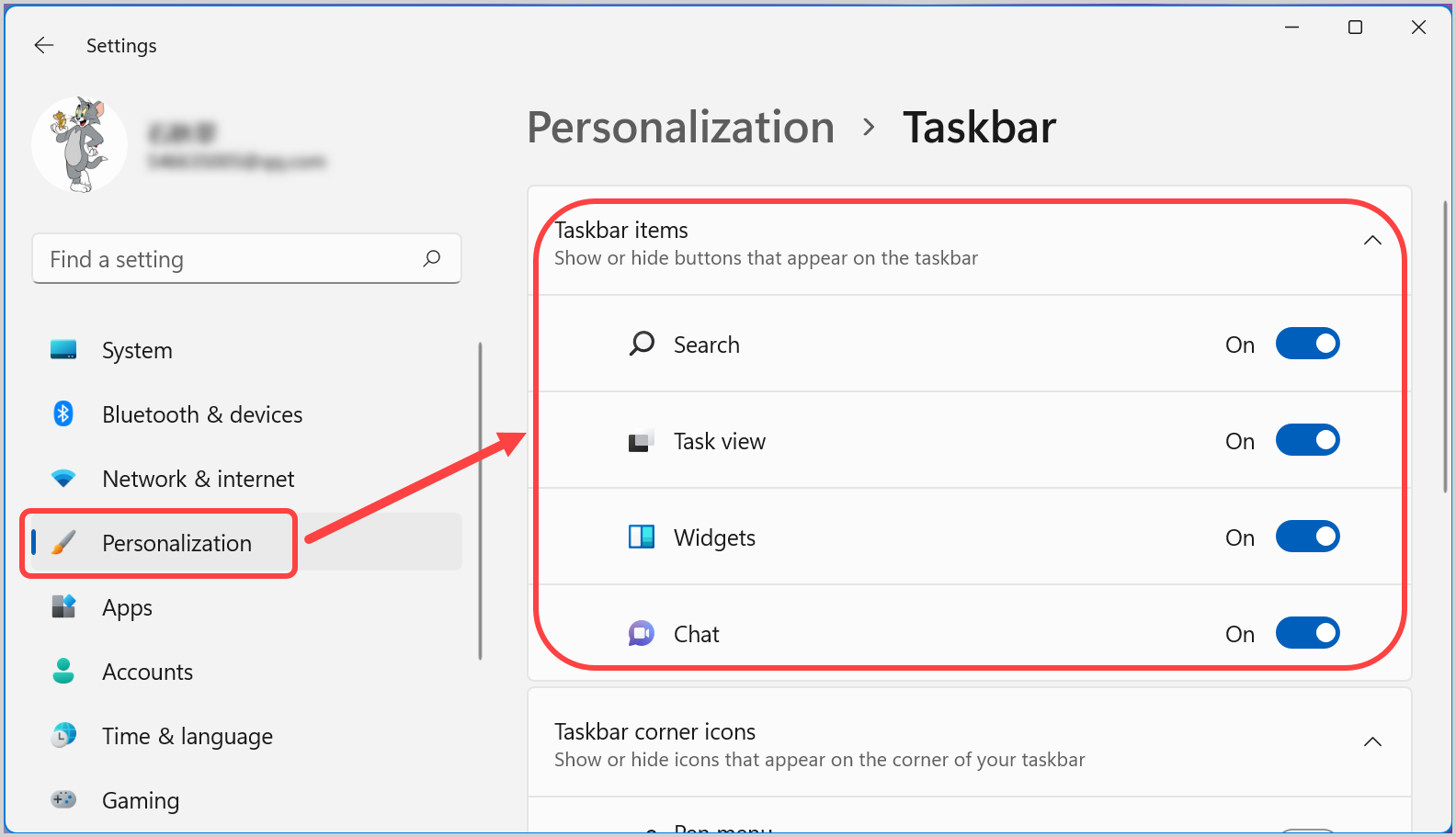 Enable or Disable Icons in Taskbar