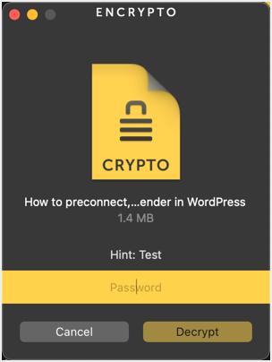 Enter Password to Decrypt