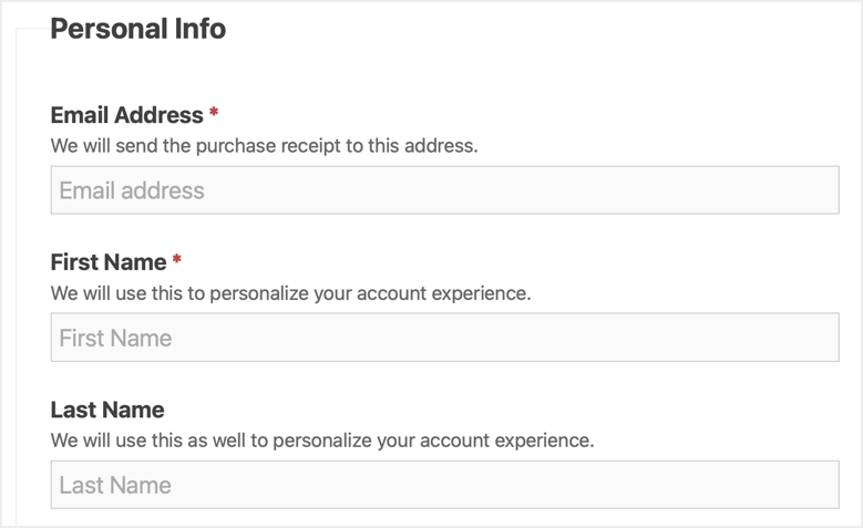 Fill Personal Information