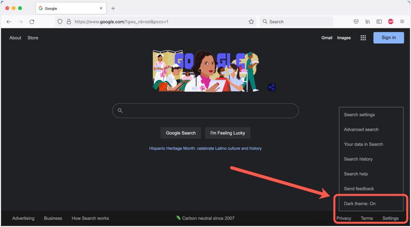 Google Search Dark Mode in Firefox