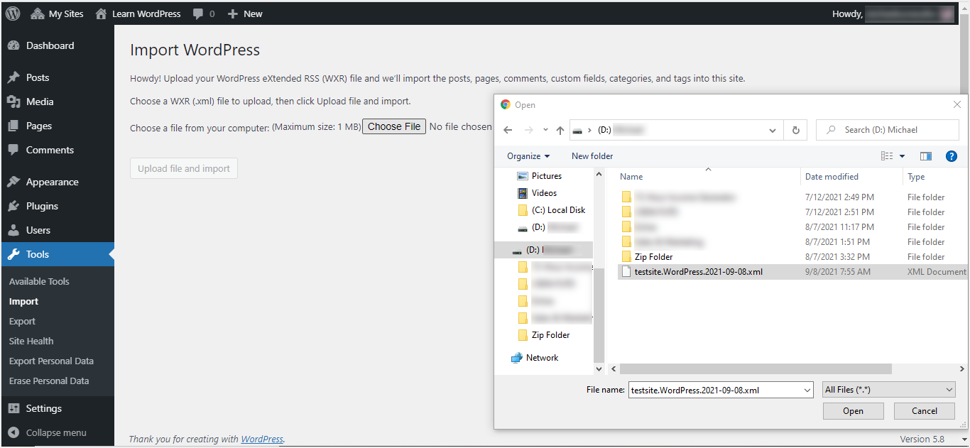 Importing Single Site XML File