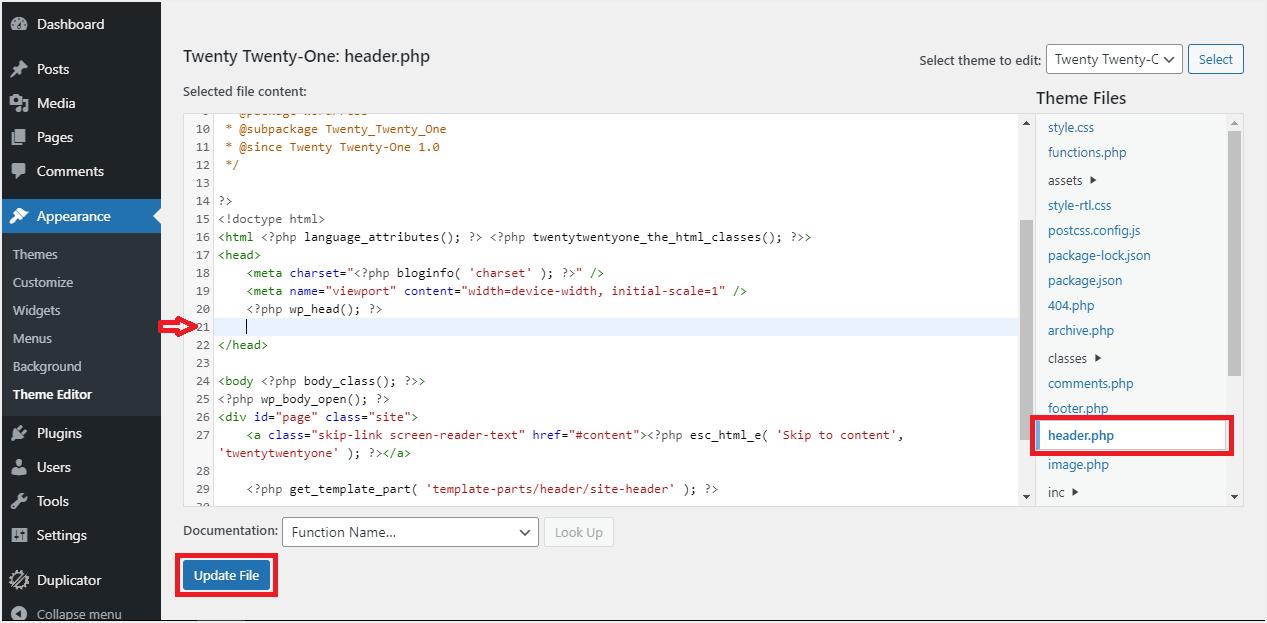 Insert Code in Header File.PNG