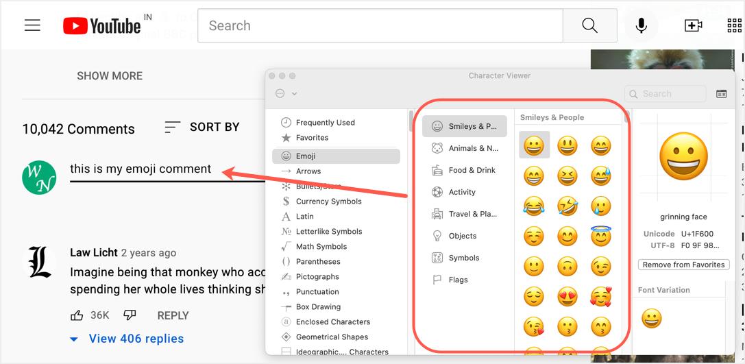 Insert Emoji in Mac YouTube Comments