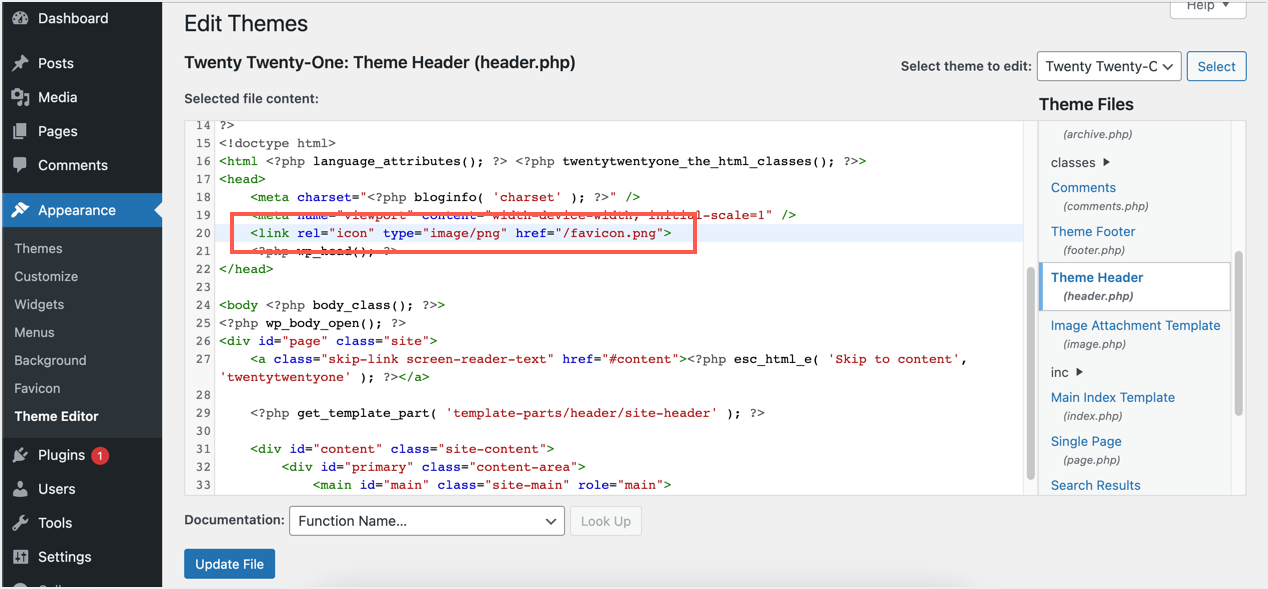 Insert Link Meta Tag in Theme File