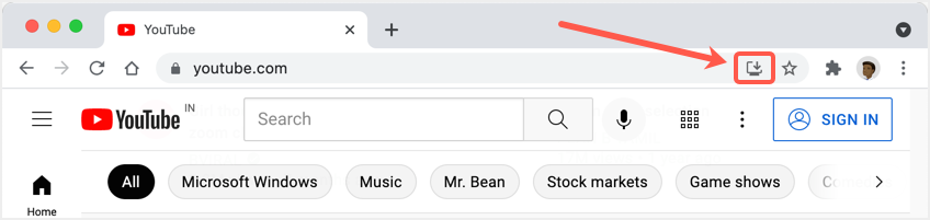 Install Icon in Chrome Address Bar