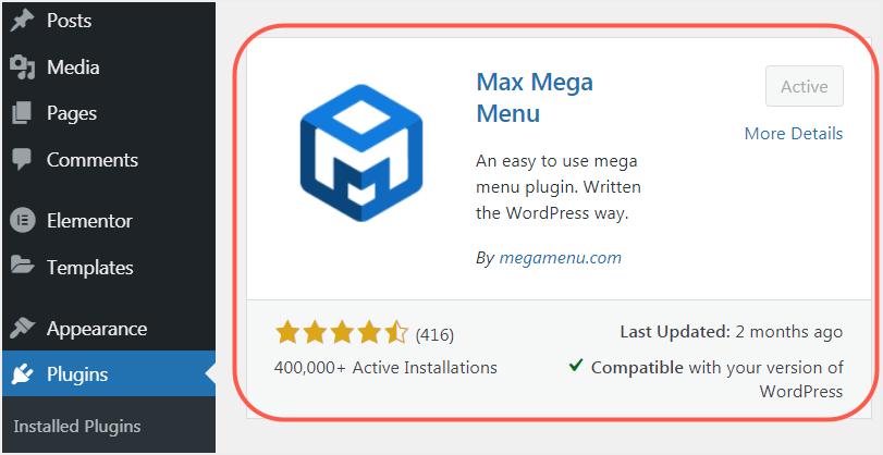 Install Max Mega Menu Plugin