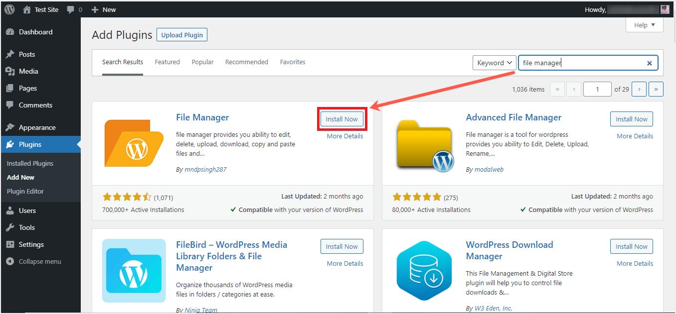 Install WordPress File Manager Plugin