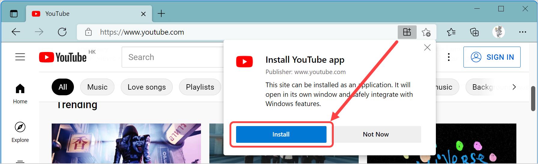 Install YouTube App in Windows 11