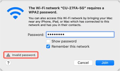 Invalid Password Prompt