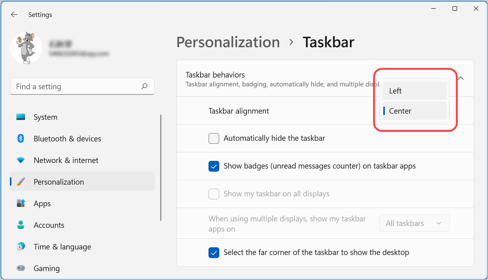 Left Taskbar Alignment