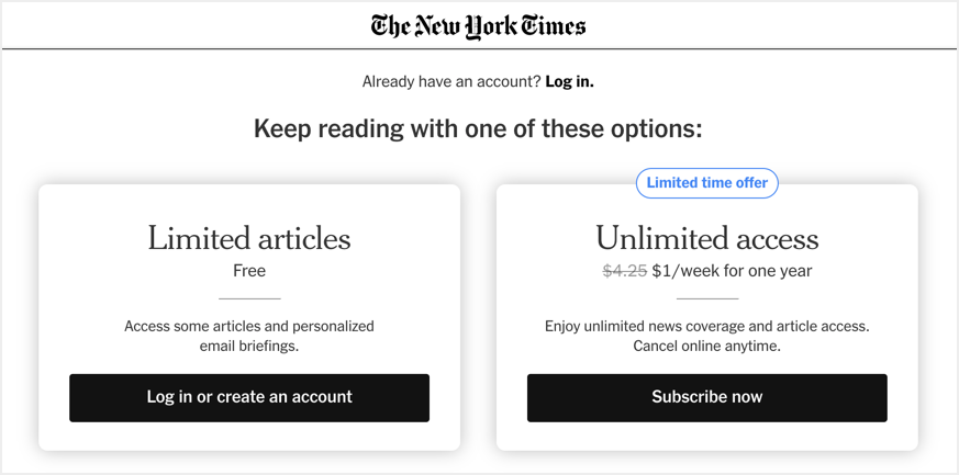 NY Times Content Locking