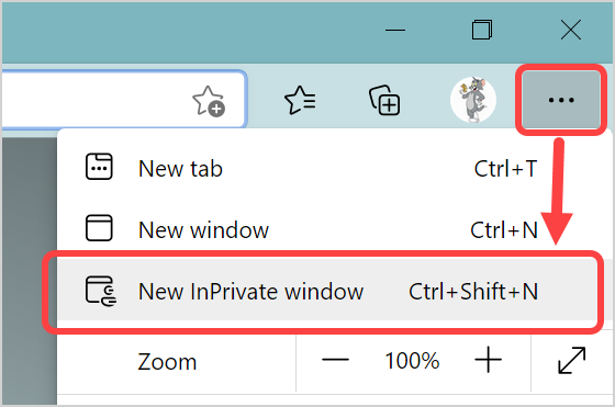 Open Edge InPrivate Mode from Menu