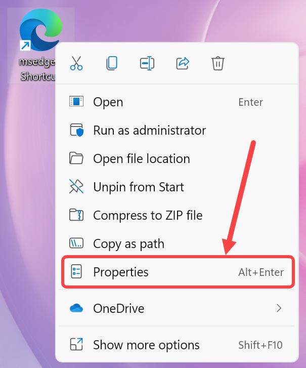 Open Edge Shortcut Properties