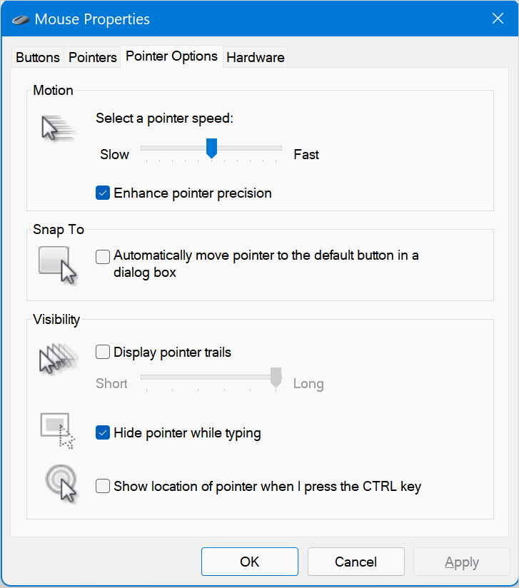 Pointer Options in Windows 11
