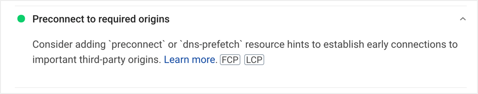 Preconnect Origins in Google PSI