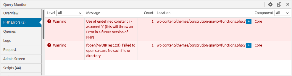 Query Monitor Errors