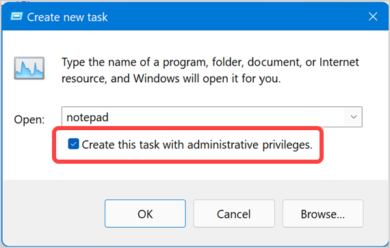 Run Task with Admin Privileges