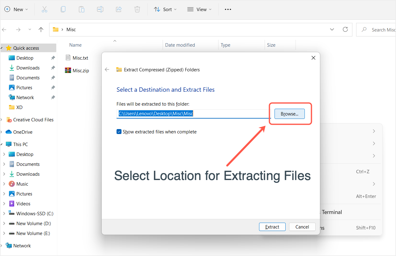 Select Extracted File Location