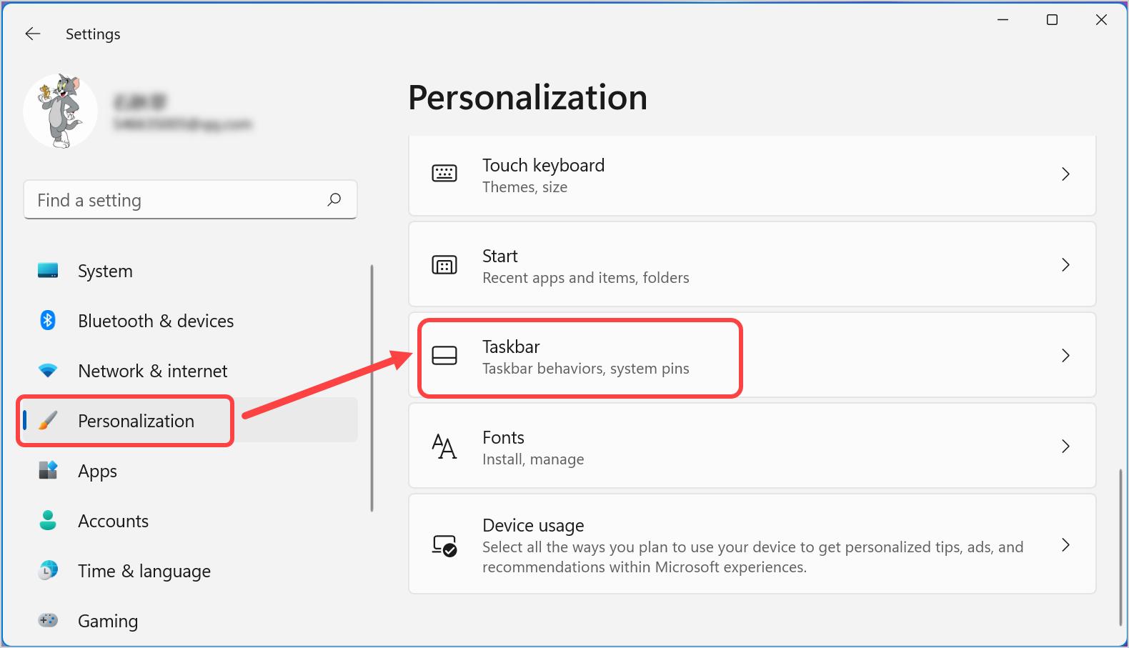 Taskbar Personalization in Windows 11