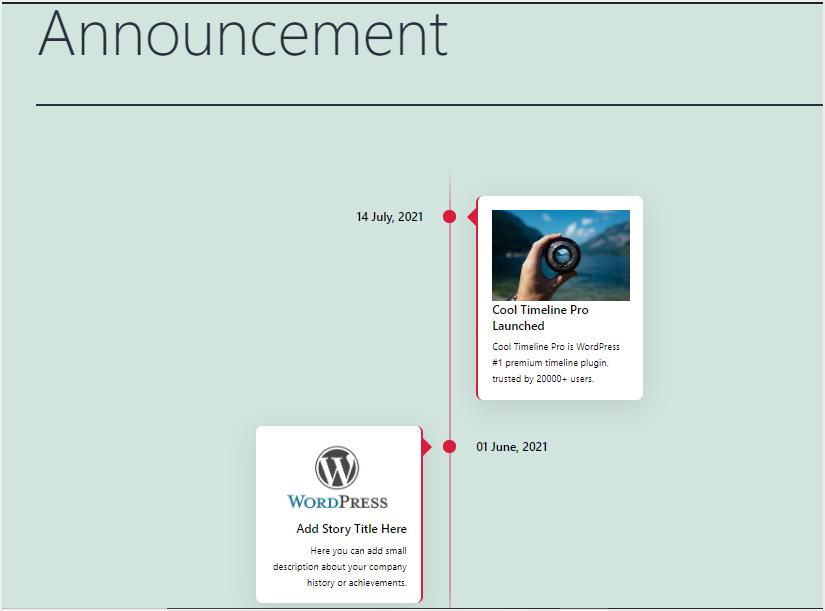 Timeline Display on Published Post