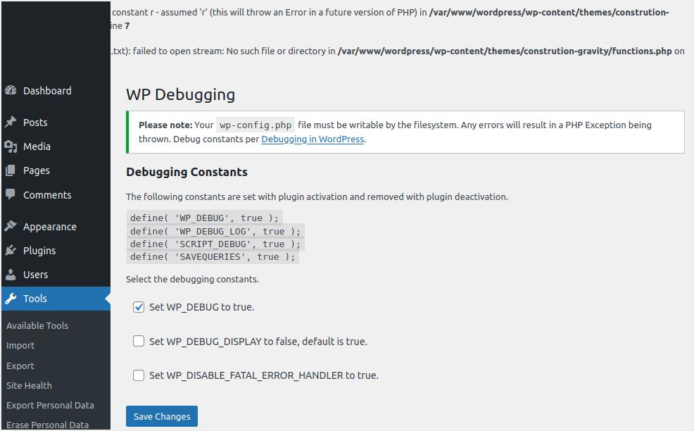 WP Debugging Plugin Settings