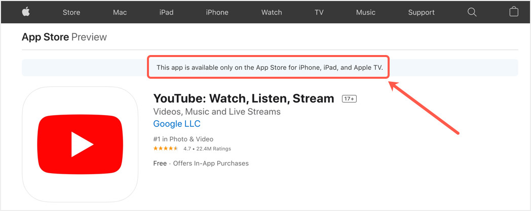 YouTube App Not Available for Mac