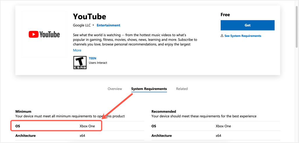 YouTube App in Microsoft Store