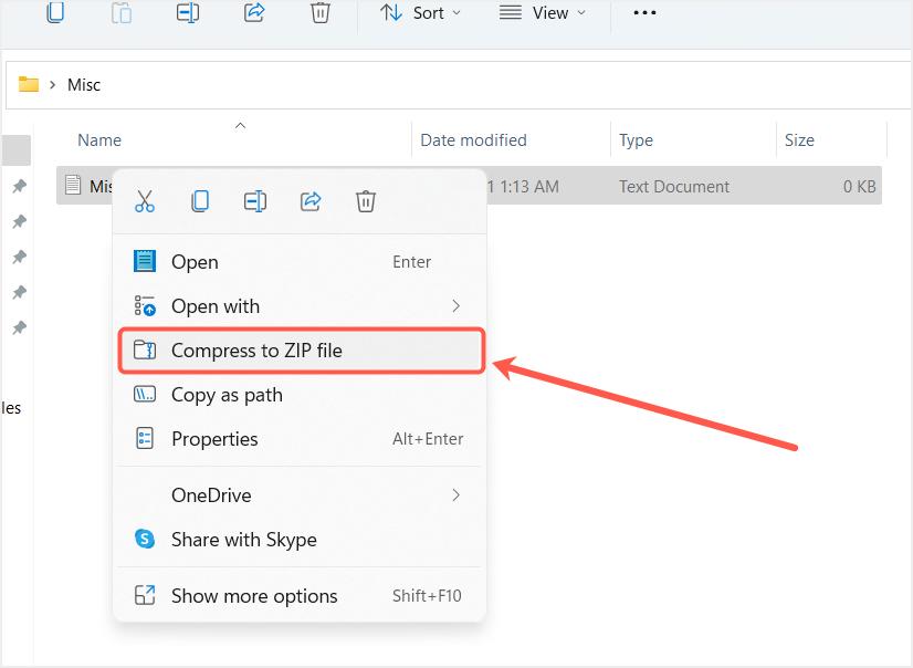 Zip File from File Explorer