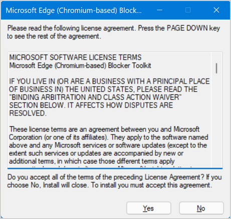 Accept Agreement to Install Blocker