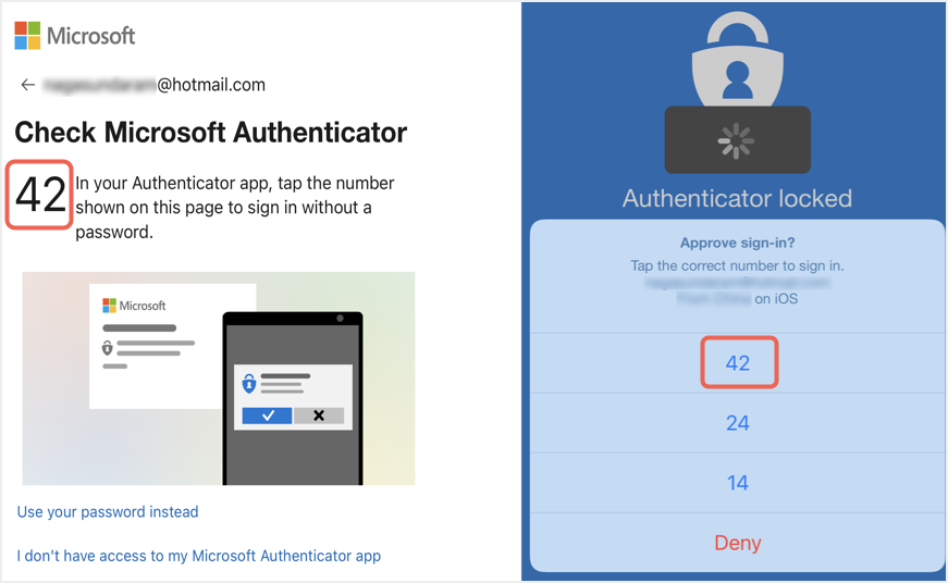 Approving Login with Microsoft Authenticator App
