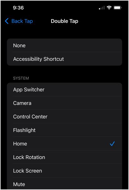 Back Tap Options List