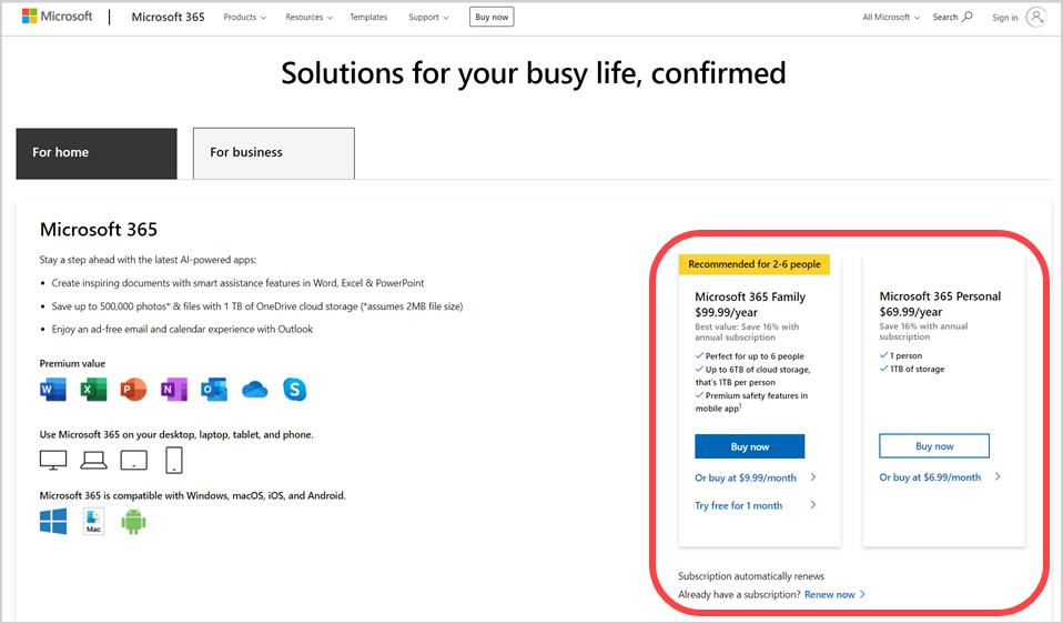 Buy Microsoft 365 Subscription