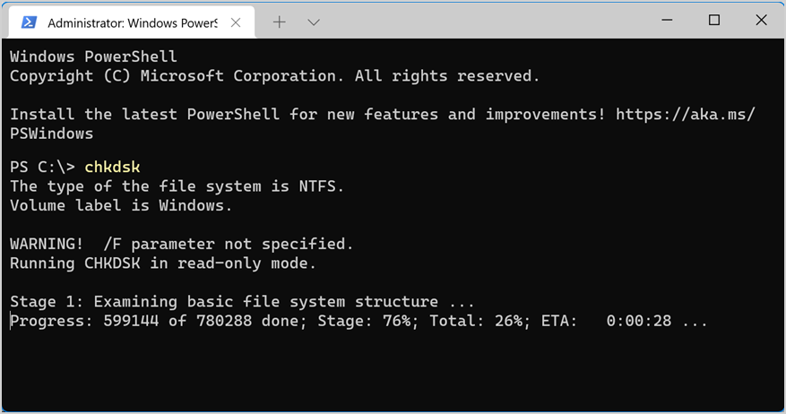 Check Disk is Running in PowerShell