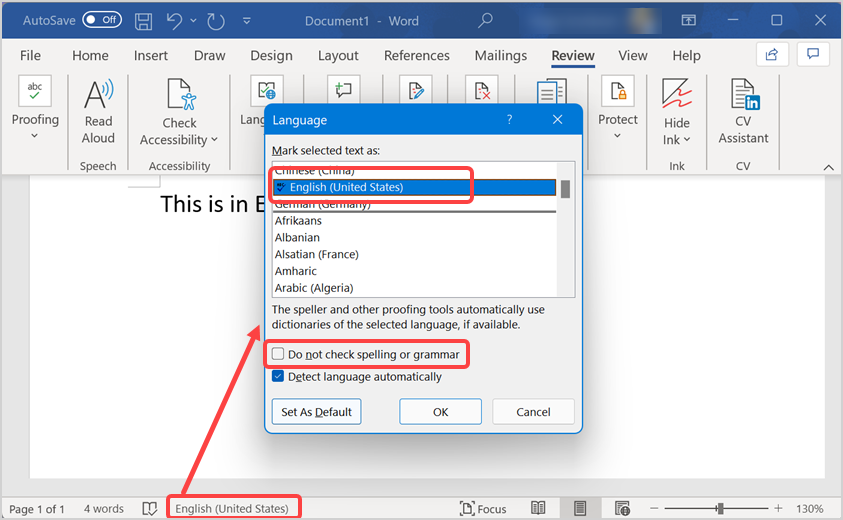 Check Language and Spell Check Option