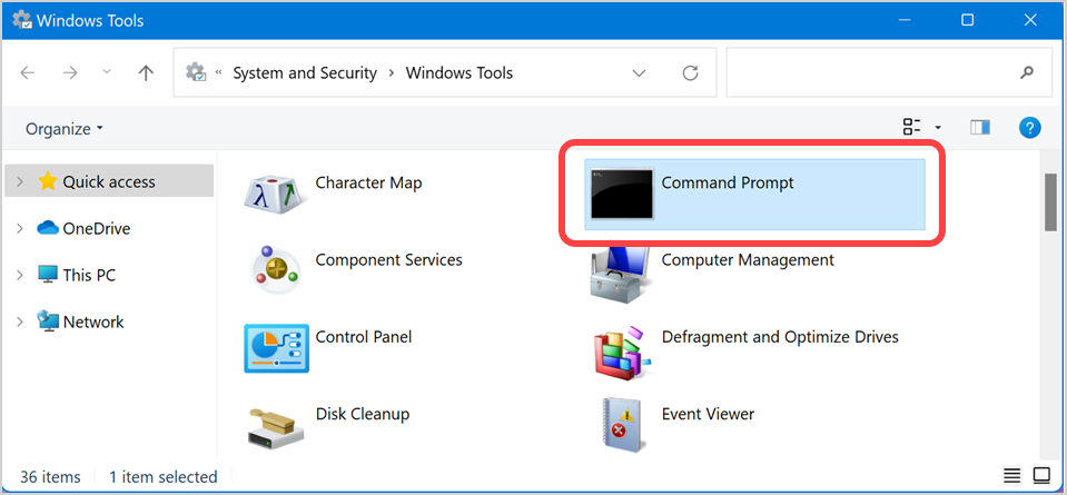 Command Prompt in Windows Tools