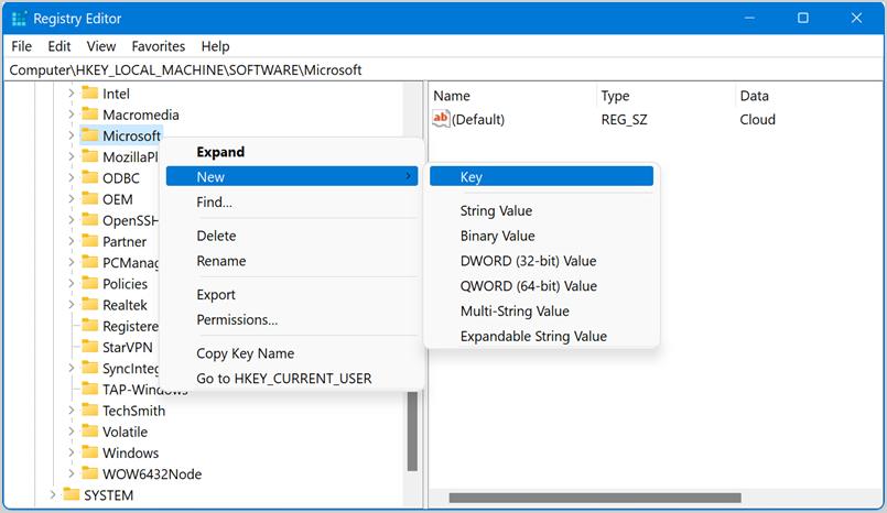 Create EdgeUpdate Registry Key