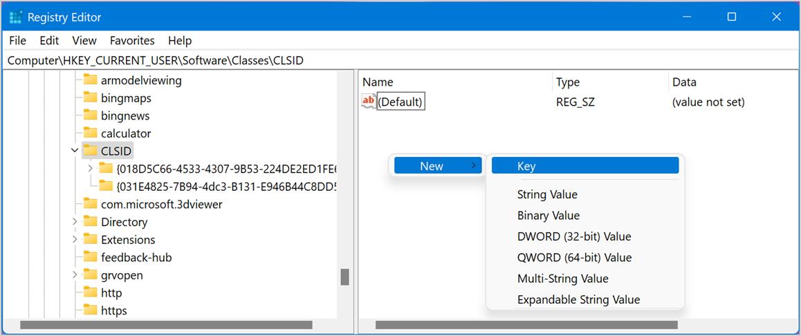 Create New Registry Key
