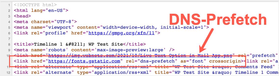 DNS-Prefetch в заголовке
