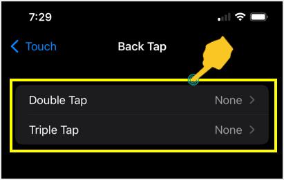 Default Back Tap Settings