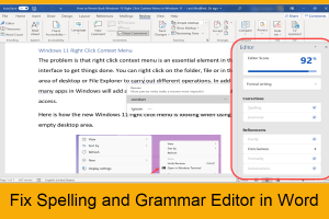Fix Spelling and Grammar Editor in Word